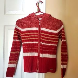 Cute Red and White S Striped Point Zero Sweater